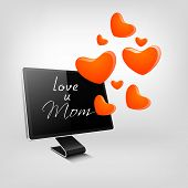 Happy Mothers Day background with text love you mom on a LCD monitor and flying hearts.
