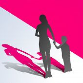 Happy Mothers Day concept with silhouette of a mother holding hand on her child on pink abstract bac