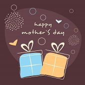 Creative Happy Mothers Day background with gift boxes on seamless flowers decorated brown background.