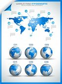 Infographic layout template with world maps. Ideal for global statistics and for every kind of data
