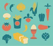 Set of Food Icons, including asparagus, corn, broccoli, radish, egg and button mushroom, in retro style