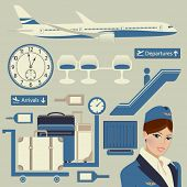 stock photo of flight attendant  - Airport Themed Set - JPG