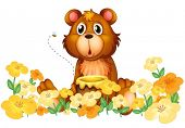 Illustration of a bear with a honey at the garden on a white background