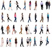 stock photo of side view people  - collection back view walking people - JPG