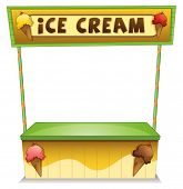 Illustration of an ice cream stand on a white background