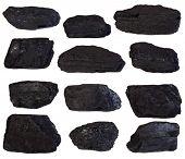 Coal lumps isolated on white background