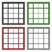Set Of Four Empty Square Bookshelfs In Black, Grey, Red And Green Colors
