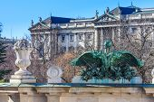 Vienna - Entrance Portal Of Burggarten With Hofburg Palace In Background