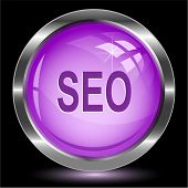Seo. Internet button. Raster illustration.