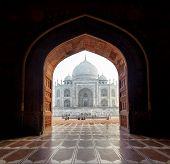 India. Taj Mahal indian palace in Agra. Tajmahal arch view