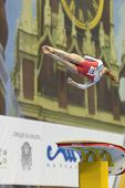 MOSCOW, RUSSIA - APRIL 20: Noel van Klaveren, Netherlands performs vault in the final of 5th Europea
