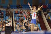 MOSCOW, RUSSIA - APRIL 20: Max Whitlock, Great Britain performs the floor exercise in the final of 5