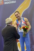 MOSCOW, RUSSIA - APRIL 20: Daniel Keatings, Great Britain win the exercise on pommel horse in final