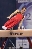 MOSCOW, RUSSIA - APRIL 20: Donna Donny Truyens, Belgium performs exercise on pommel horse in final o