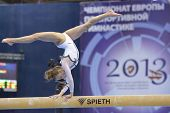 MOSCOW, RUSSIA - APRIL 21: Katarzyna Jurkowska, Poland performs exercise on balance beam in final of