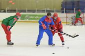 NOVOGORSK, RUSSIA - APRIL 12: Players of men's national junior ice hokey team during open training i