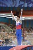 MOSCOW, RUSSIA - APRIL 21: Emin Garibov, Russia performs exercise on parallel bars in final of 5th E