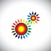 Concept Of Women Groups As Cogwheels Representing Communities
