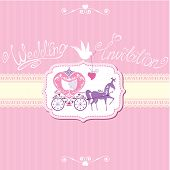 Vintage Wedding Invitation With Retro Horse Carriage