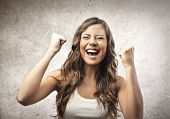 image of screaming  - portrait of happy woman - JPG