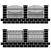 vector metal ornate fence black icons
