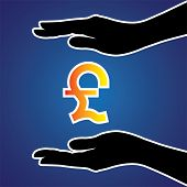 pic of safeguard  - Vector illustration of protecting or safeguarding pound sterling - JPG