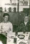 stock photo of niece  - Vintage photo of aunt and adult niece during a family party - JPG