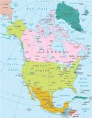 North America -highly detailed map.All elements are separated in editable layers clearly labeled. Vector