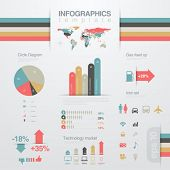 Infographics design elements template.  Business report. Financial statistics. Graph, chart, diagram