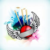 Abstract Cricket background with ball on stumps and wings.