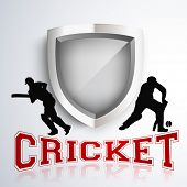 Silhouette of two batsman in playing action on winning trophy background with text cricket.