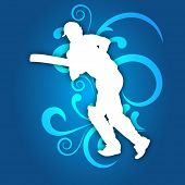 Illustration of a cricket batsman in playing action on abstract floral blue background.