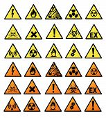 stock photo of hazard symbol  - Chemical hazard signs vector illustration on white background - JPG