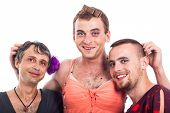 stock photo of cross-dresser  - Portrait of three happy boys cross - JPG