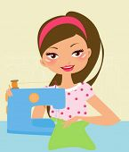 Pretty girl Using Sewing Machine
