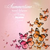 Colorful vintage summer background with butterfly. Grunge paper texture. Vector background