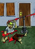Zombie trap of a spinning blade has cut a zombie in half
