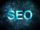 SEO web design concept: SEO on digital background