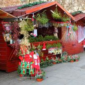 PILSEN CZECH REPUBLIC - DECEMBER 3: a market stall with mistletoe on the Christmas market in the cit
