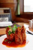 picture of chinese wok  - Wok fried shrimps with sweet sauce and coriander leaves - JPG