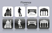 Landmarks of Florence. Set of monochrome icons. Editable vector illustration.