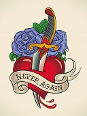 Old-school styled tattoo of a dagger through heart with blue roses on the background. Raster illustr