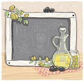Illustration of olives and a bottle of olive oil with chalk board.