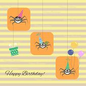 stock photo of baby spider  - greeting card with funny cartoon spider - JPG