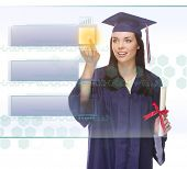 Young Female Graduate Pushing Blank Button on Translucent Panel - Ready For Your Own Copy.
