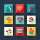 Set of Valentine's and Wedding icons in flat design style.