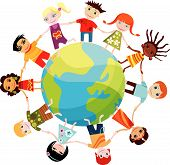 stock photo of fellowship  - vector illustration of  colorful children of the world - JPG