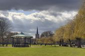 stock photo of avon  - Bandstand and church at Stratford upon Avon - JPG