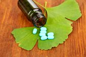 Ginkgo biloba leaves and medicine bottle on wooden background