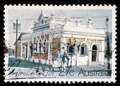 AUSTRALIA - CIRCA 1982: A Stamp printed in AUSTRALIA shows the Historic Australian Post Offices, Kin